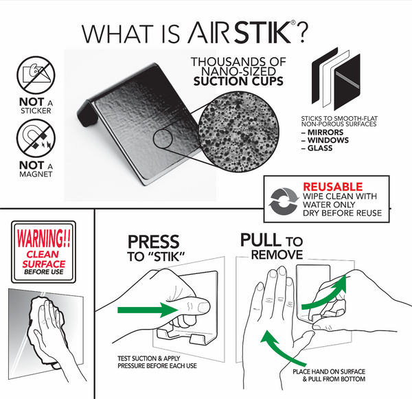 AIRSTIK CRADLE universal Phone iPad Holder for Mirror Glass Shower Mount Waterproof Made in USA