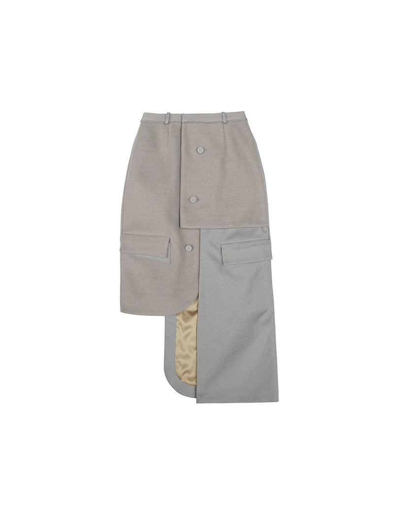 2019AW<br>Irreguar Woolly Suit Skirt