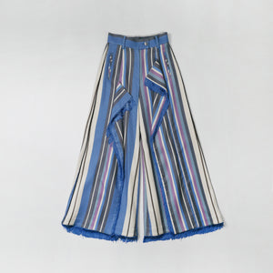 Stripe Constructed Wide-leg Trousers (Blue)