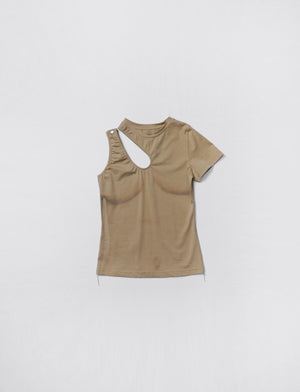 Tee Unbalanced Printed Top (Khaki)