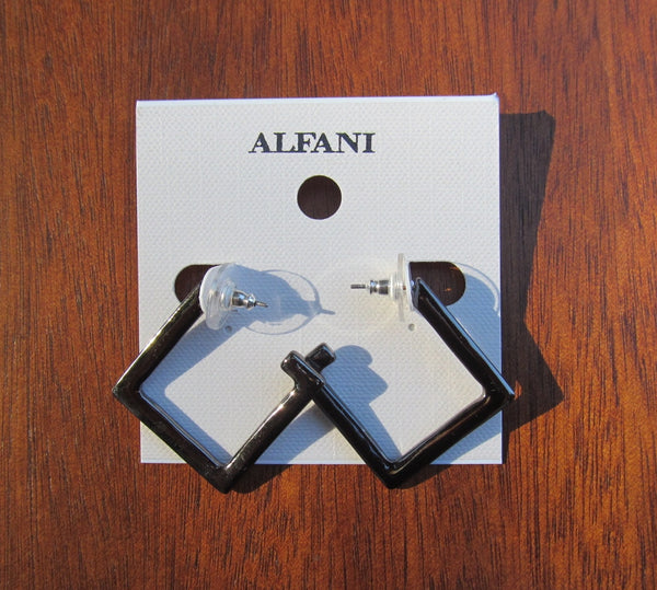 Alfani Geometric Pierced Post Earrings Silver Black