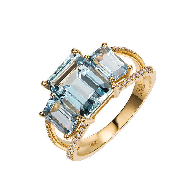 Very Aquamarine Rings with Diamonds in 18K Yellow Gold – Caitlin Elves  IY24