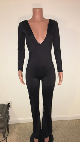 Jumpsuit with V neck and medium wide leg