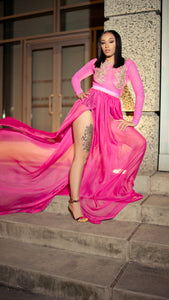 Pink and gold goddess gown