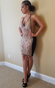 Gold and black Vneck dress with open back
