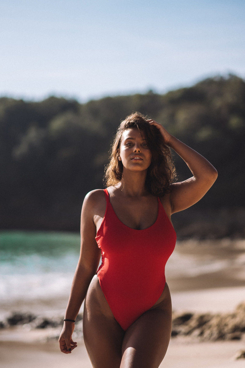 One-Piece swimsuit with red color bright swimwear