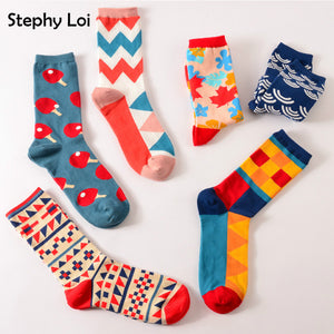 Happy Colorful Cotton Socks (Random Color)