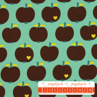 "byGraziela Jersey ""one apple a day"" mint/braun-Stoffe-Jinny & Joe"