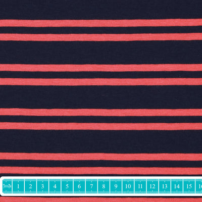"Verhees Jersey ""Stripes"" navy coral-Stoffe-Jinny & Joe"