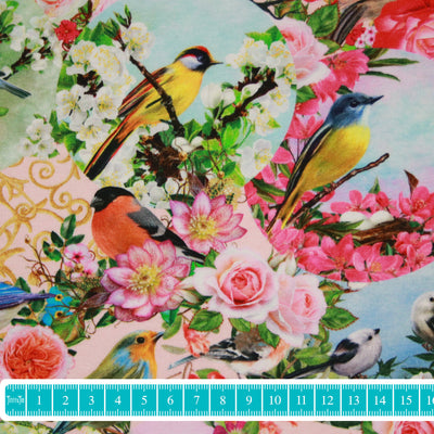 "Jersey ""Romantic birds"" rosa-Stoffe-Jinny & Joe"