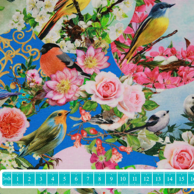 "Jersey ""Romantic birds"" blau-Stoffe-Jinny & Joe"
