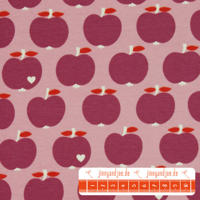 "byGraziela Jersey ""one apple a day"" flieder-Stoffe-Jinny & Joe"