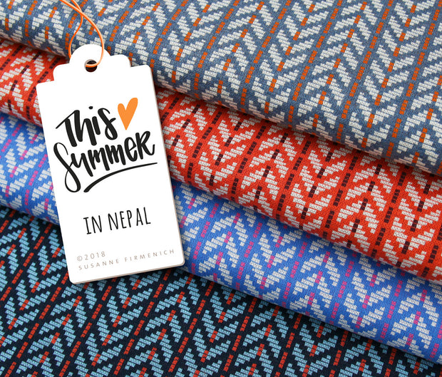 "HHL This Summer ""In Nepal"" Jacquard blau-Stoffe-Jinny & Joe"