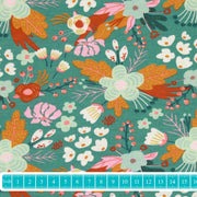 "Poppy Bio-Jersey ""Digital Flowers"" dunkelmint-Stoffe-Jinny & Joe"