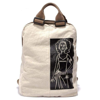 Fashion Canvas Backpack Large capacity solid color school bag backpack (white) - Backpacks