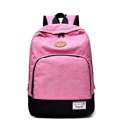 Fashion solid color school bag backpack mens large capacity waterproof nylon laptop - Backpacks