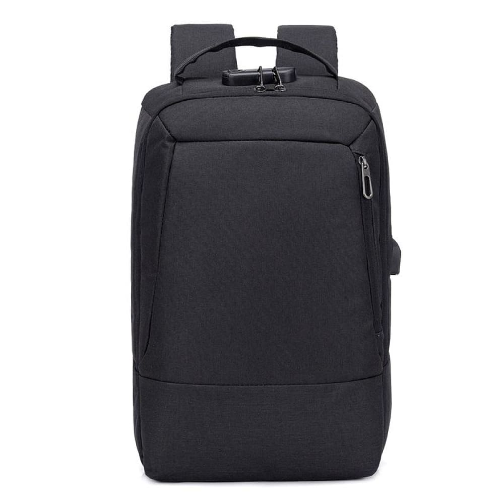 Men 15.6 inch USB charging Anti-theft business laptop backpack larger capacity multifunction travel bag - black - Backpacks