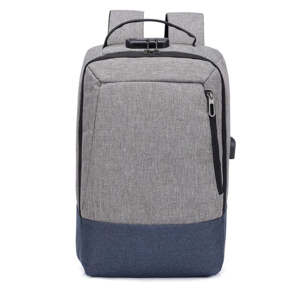 Men 15.6 inch USB charging Anti-theft business laptop backpack larger capacity multifunction travel bag - gray-blue - Backpacks