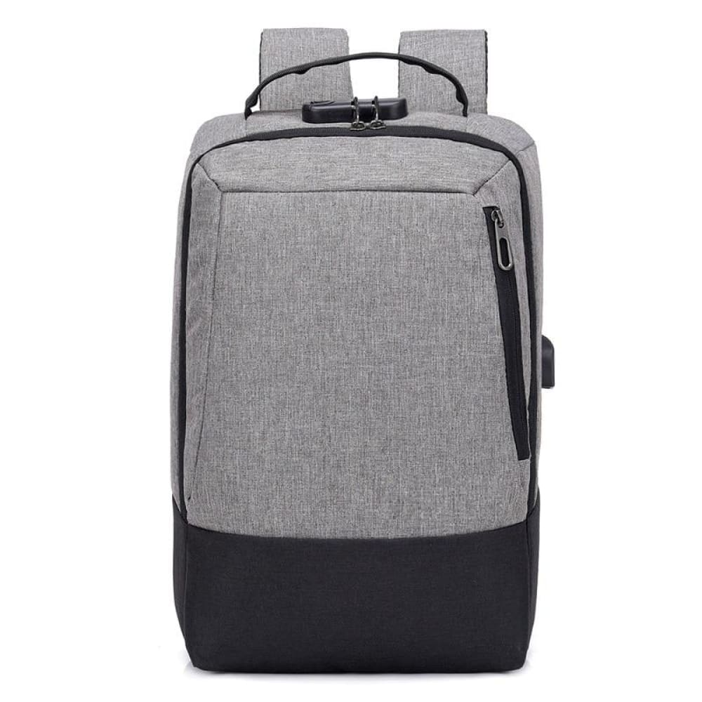 Men 15.6 inch USB charging Anti-theft business laptop backpack larger capacity multifunction travel bag - gray-black - Backpacks
