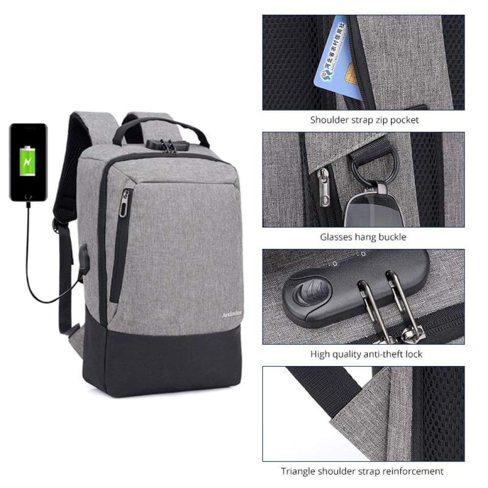 Men 15.6 inch USB charging Anti-theft business laptop backpack larger capacity multifunction travel bag - Backpacks