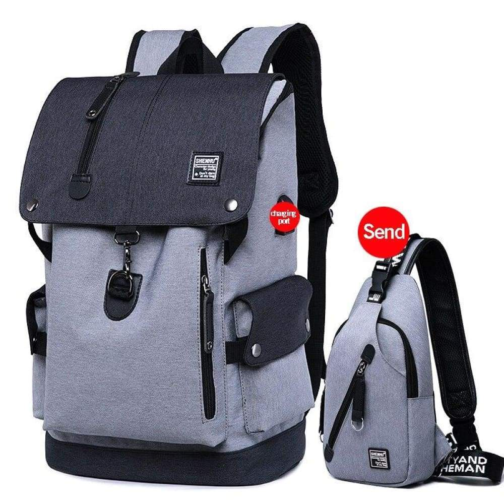 Fusce velit Backpack Oxford disco homines USB / BAG Travel Mochila Casual lapides sacculi Leather - II griseo occidere