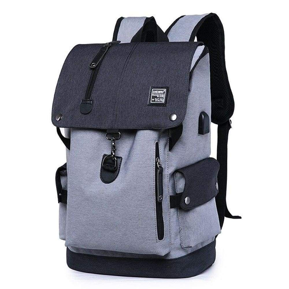 Fusce velit Backpack Oxford disco homines USB / BAG Travel Mochila Casual lapides sacculi Leather - griseo