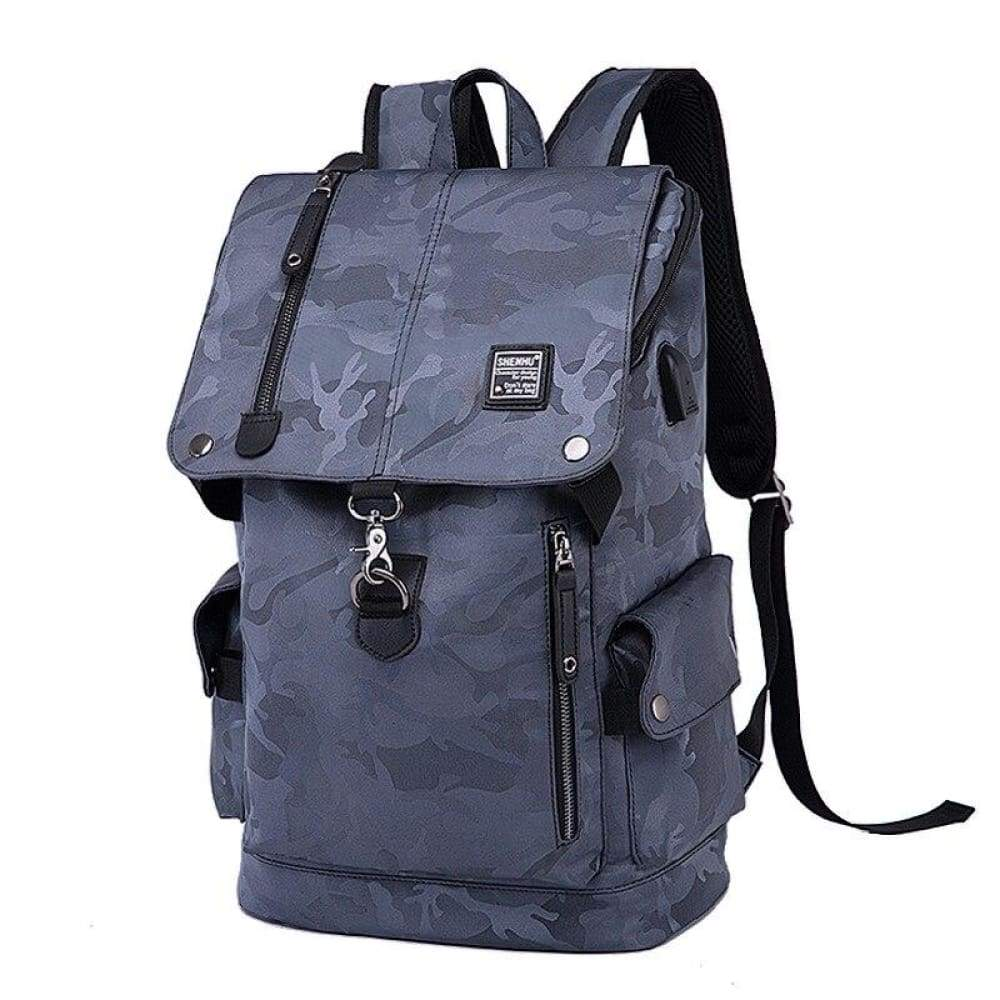 Fusce velit Backpack Oxford disco homines USB / BAG Travel Mochila Casual lapides sacculi Leather - Camo griseo
