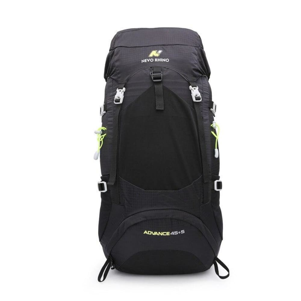 NEVO RHINO 50L Waterproof Mens Backpack Unisex Hiking Outdoor Mountaineering Climbing Bag - Black - Backpacks