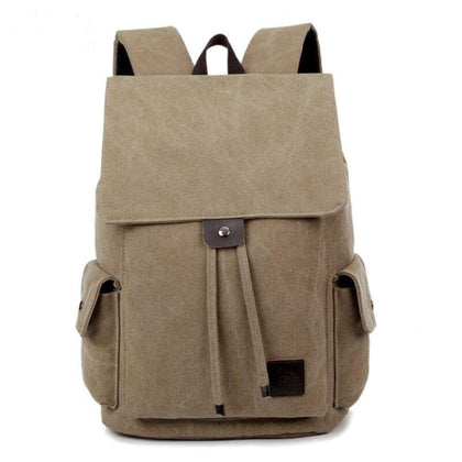 Women Mens Canvas Backpack 15inch Notebook Bag with Side Pockets Vintage - Backpacks