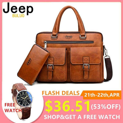 JEEP Men Business Bag Laptop Briefcase Bags 2 in 1 Set Handbags High Quality Leather Totes Male