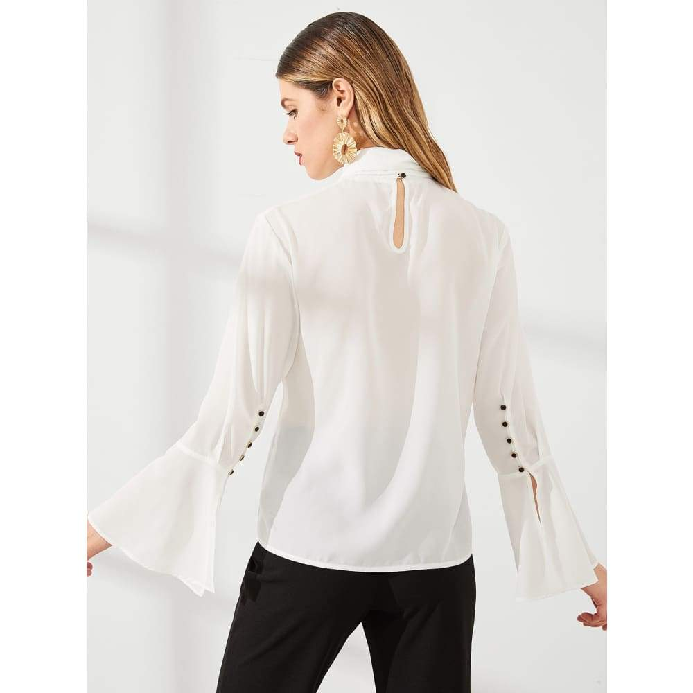Knot Front Button Bell Sleeve Top - Casual