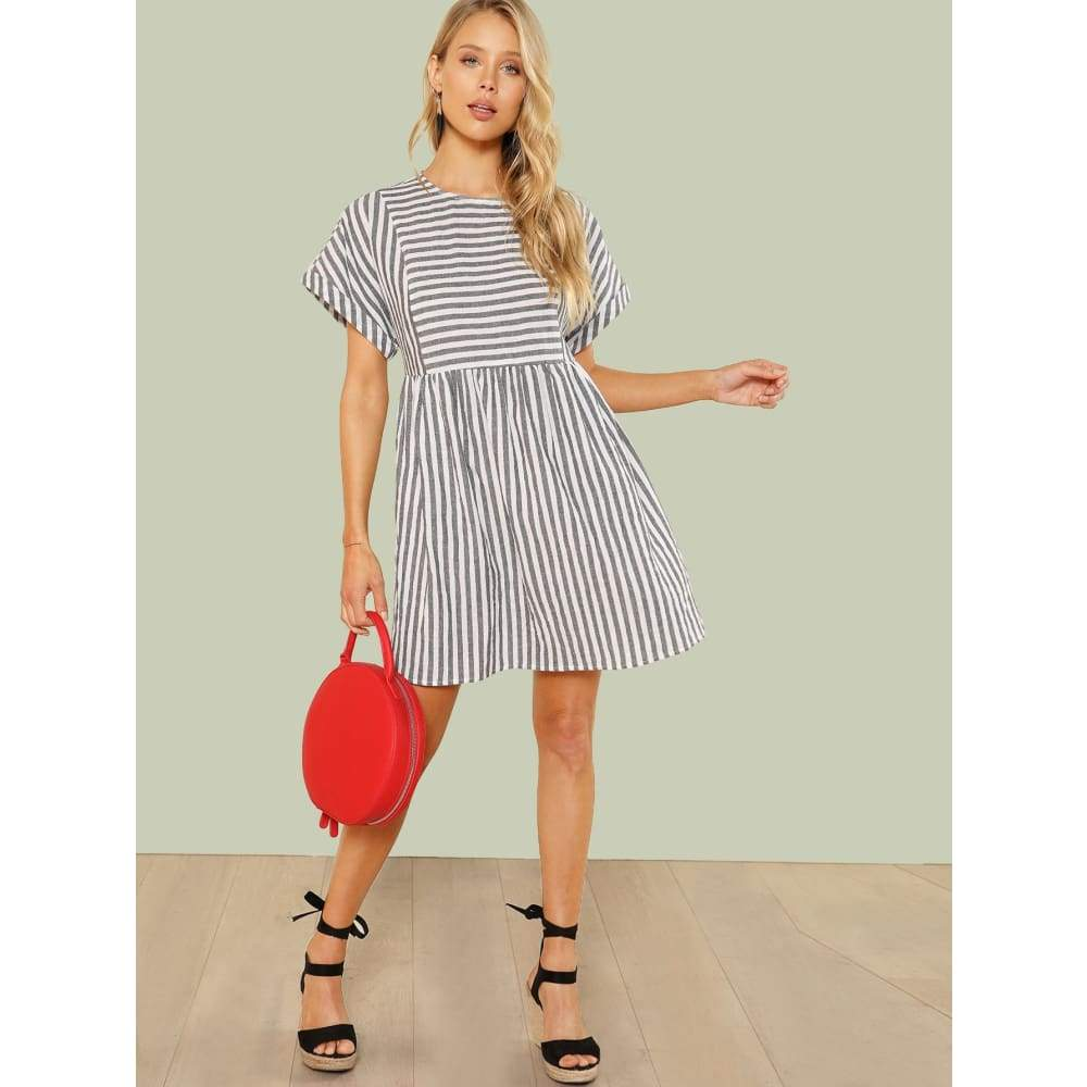 Mixed Stripe Smock Dress - Casual