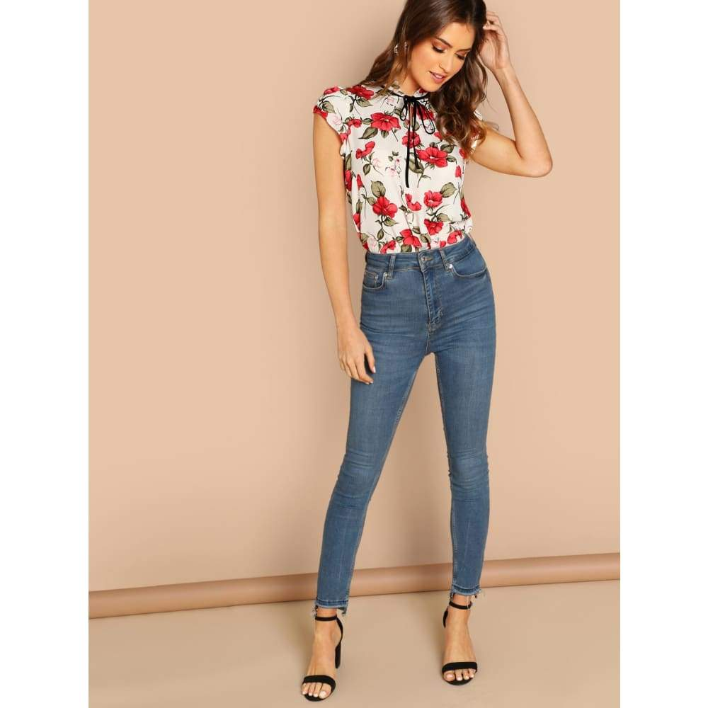 Tie Neck Ruffle Armhole Floral Top - Casual