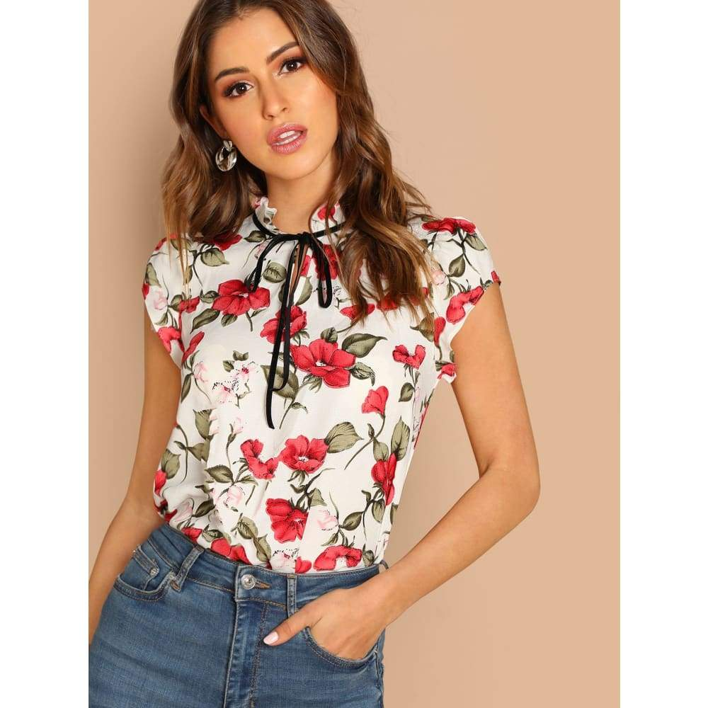Tie Neck Ruffle Armhole Floral Top - XS - Casual
