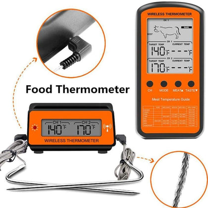 Black Wireless Remote Food Thermometer -50~30 - Cheap & Cool Gadgets