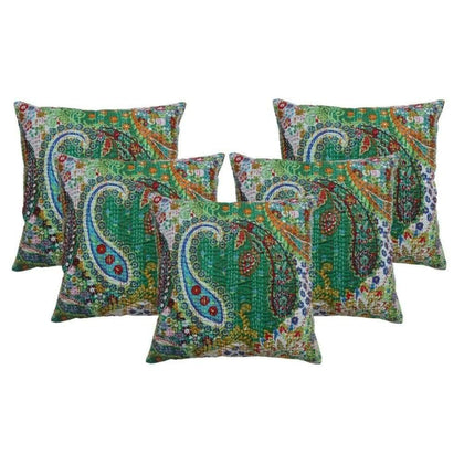 16 INDIAN CUSHION COVER PILLOW CASE KANTHA WORK FLORAL ETHNIC THROW DECOR ART