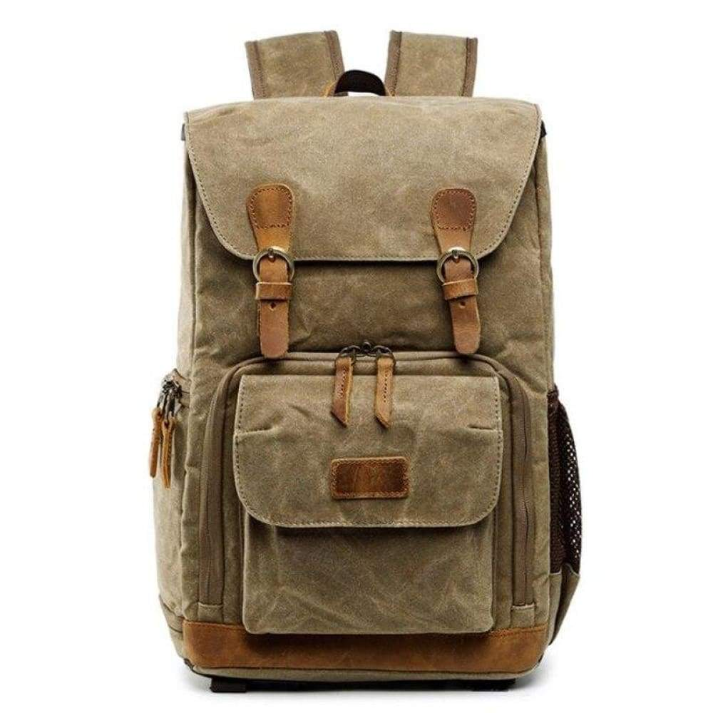 2019 New Retro Shoulder Photography Backpack Waterproof Canvas Men and Women With The Same Liner SLR Digital Camera bag - Khaki