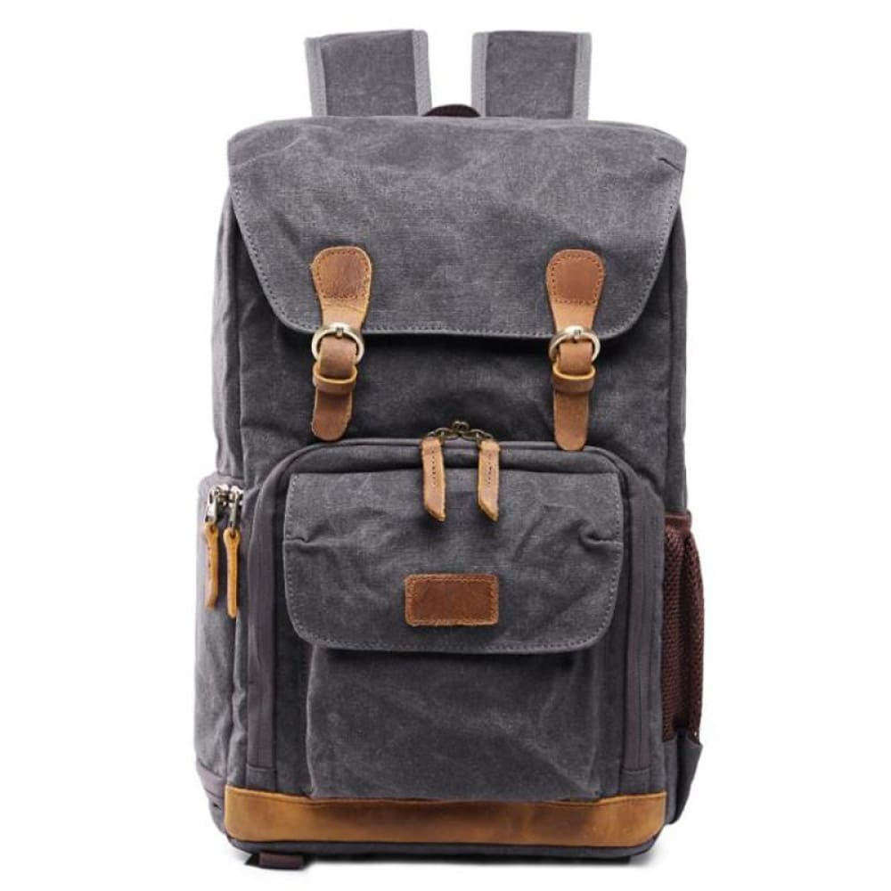 2019 New Retro Shoulder Photography Backpack Waterproof Canvas Men and Women With The Same Liner SLR Digital Camera bag - Gray
