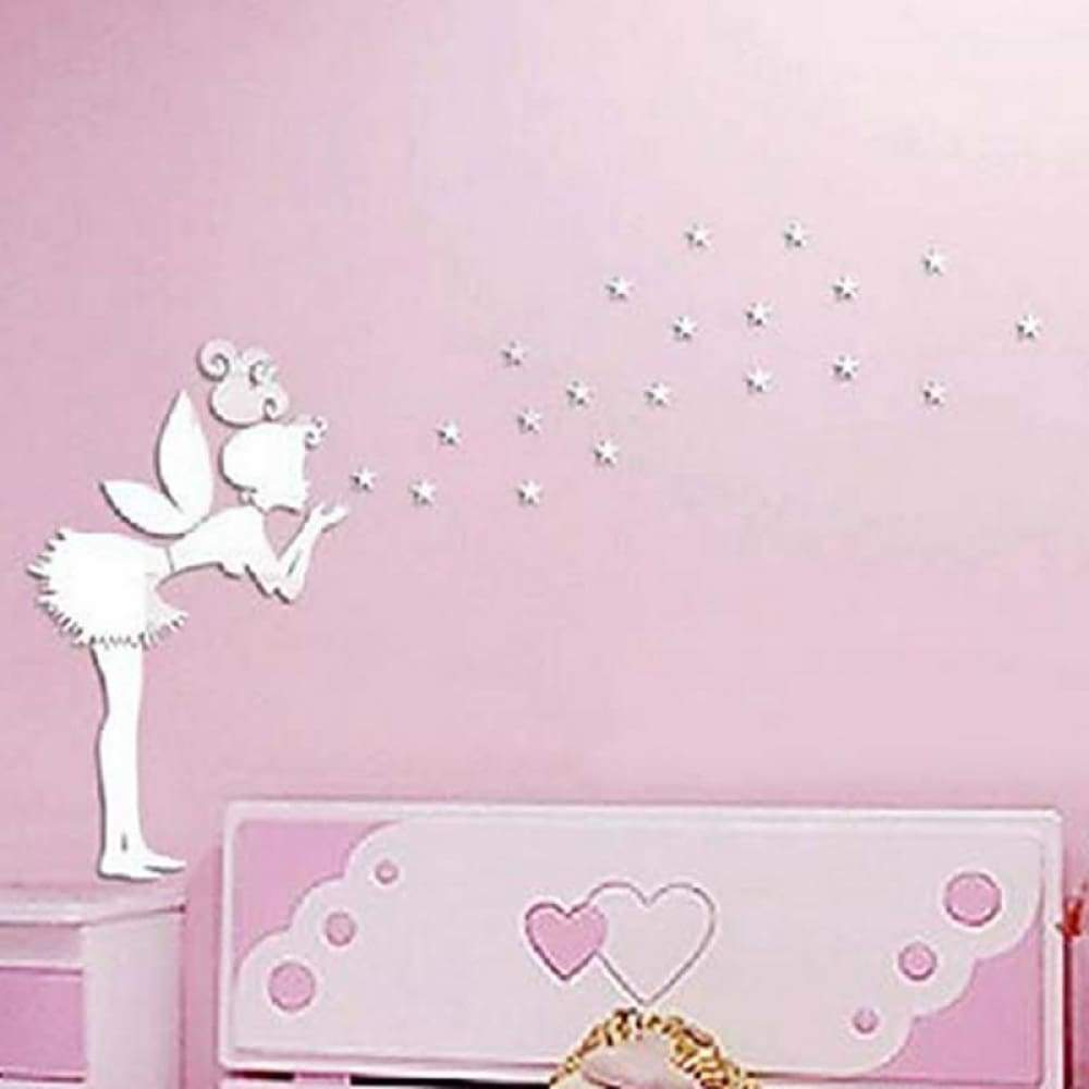 36pcs Angel Fairy Stars Modern Mirror Stickers Wall Home Decal Decor Art DIY Silver