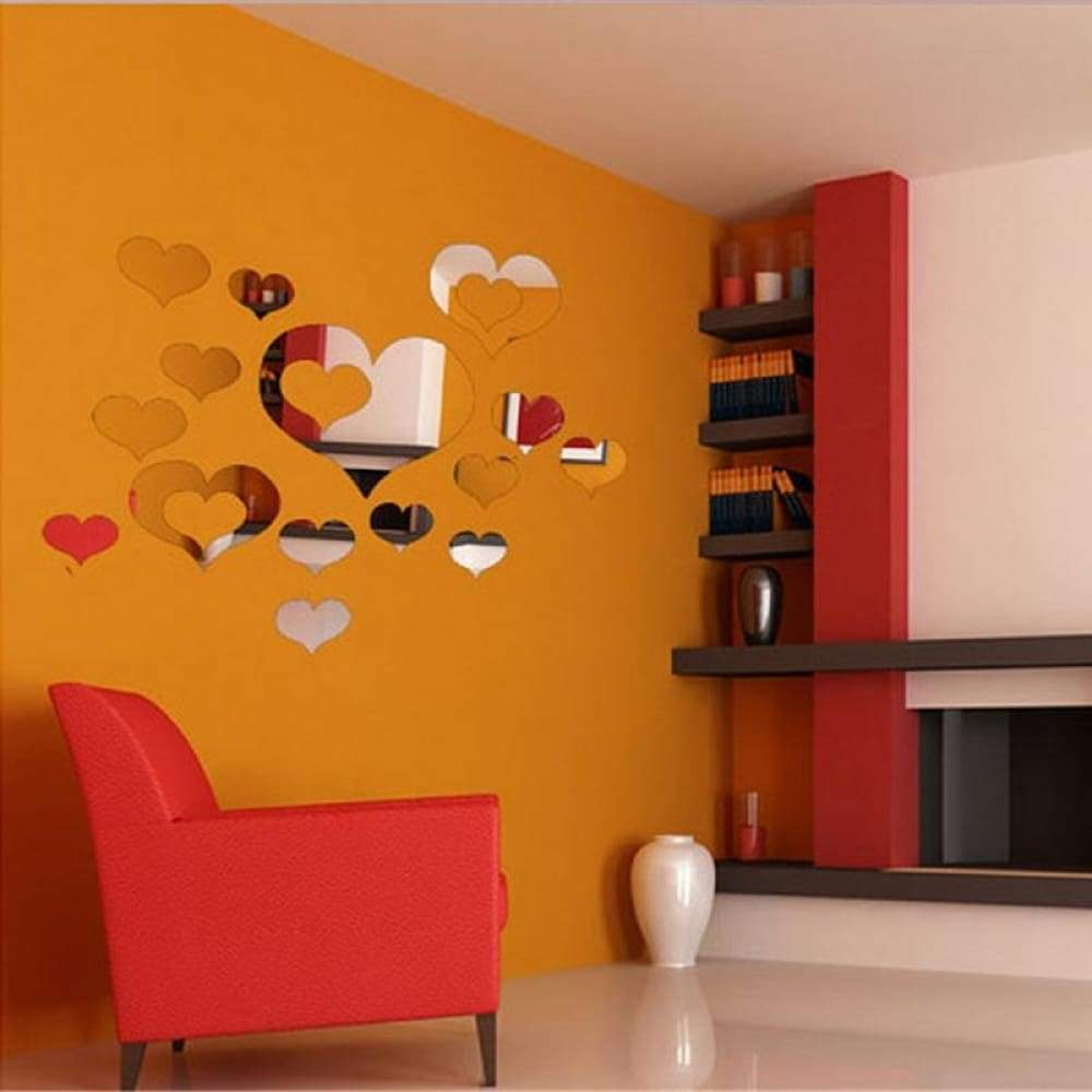 3D Heart-shaped Mirror Wall Sticker Creative Housing Decoration Silver
