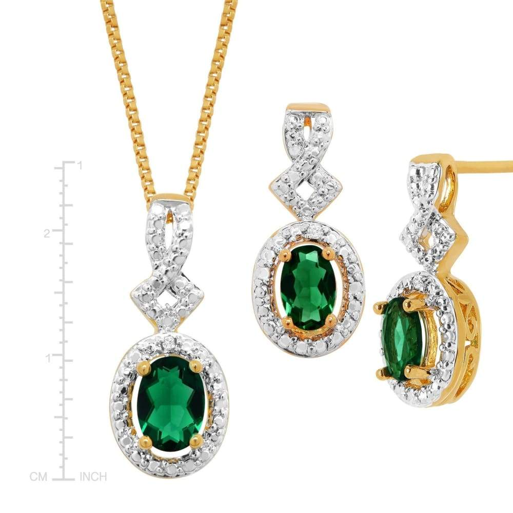 4 ct Created Emerald 4-Piece Jewelry Set with Diamonds in 14K Gold-Plated Brass