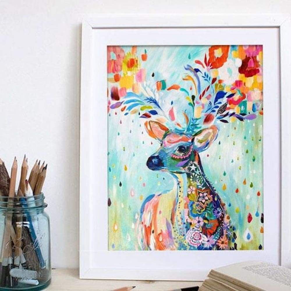 5D DIY Deer Diamond Oil Painting with Mosaic Stitch Craft 15cm x 20cm - 30*37CM
