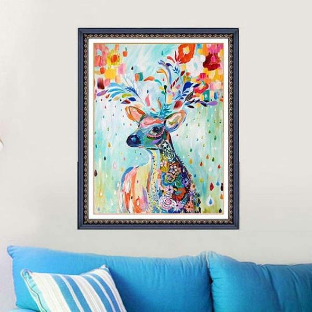 5D DIY Deer Diamond Oil Painting with Mosaic Stitch Craft 15cm x 20cm - 15*20CM