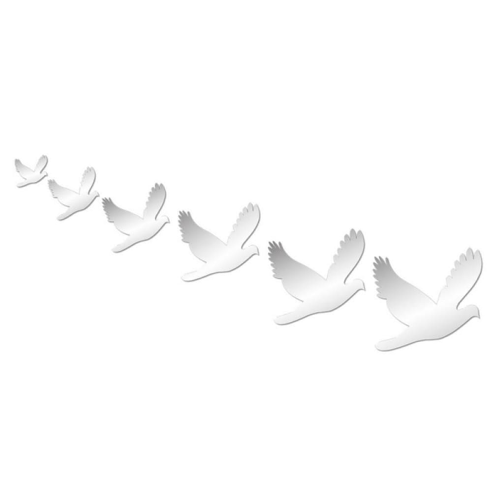 6pcs Peace Doves Shape Mirror Wall Solid Stickers Silver