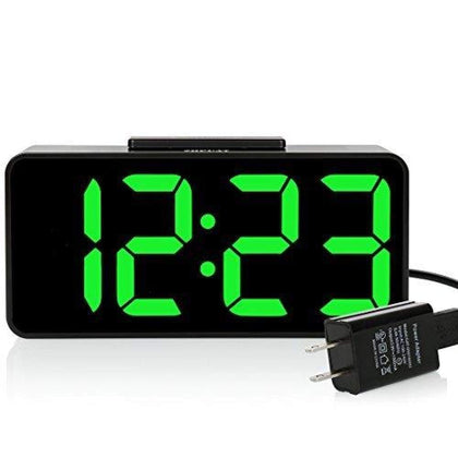 8.9 Big Screen Digital Alarm Clock with Dimmer and Sound Control Green