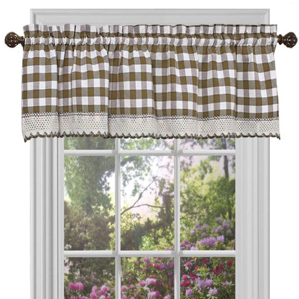 Achim Buffalo Check Valance - 58 x 14 in. / Taupe