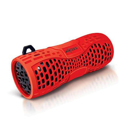 Axess 97092214M Portable Water-Resistant Bluetooth Speaker with Speakerphone-RED/BLACK