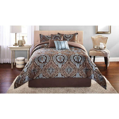 Bed Set Mainstays Victoria Jacquard 7-Piece Bedding Comforter