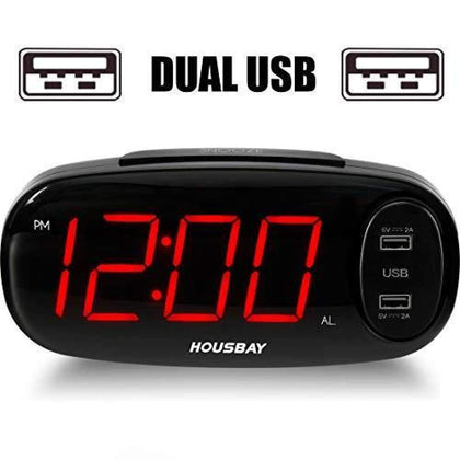 Bedrooms Alarm Clock with USB Charger - Dual Front Ports 6.5Easy to Read La