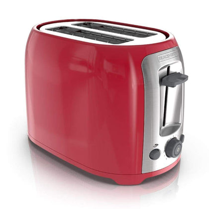 BLACK+DECKER 2-Slice Extra Wide Slot Toaster Red/Silver TR1278TRM